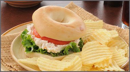 chicken salad bagel sandwich