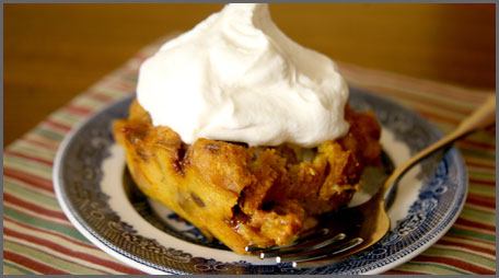 cinnamon burst pumpkin bread pudding