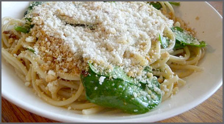 kids spinach pasta breadcrumb