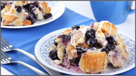 lemon blueberry bread pudding