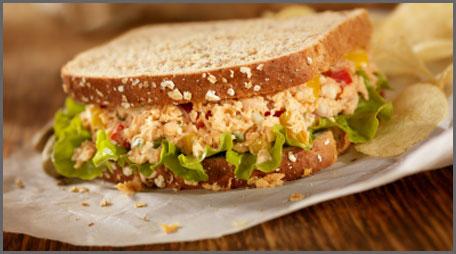 zippy salmon salad sandwich